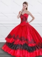 2015 Exquisite Applique Red and Black Quinceanera Dress in Organza and Taffeta for Winter