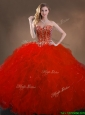 2016 Ball Gown Beaded and Ruffles Quinceanera Gowns in Red for Winter