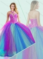 2016 Big Puffy Beaded Quinceanera Dress in Multi Color for Winter