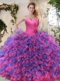 2016 Eggplant Purple and Pink Sweet 16 Dress with Ruffled Layers for Winter