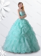 2016 Princess Apple Green Quinceanera Gown with Beading and Ruffles for Winter,Silhouette:  Princess