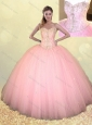 Big Puffy Beaded Baby Pink Quinceanera Dress in Tulle