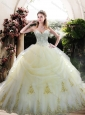 Custom Designed White Quinceanera Gown with Appliques and Beading