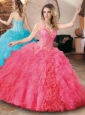 Elegant Beaded and Ruffled Quinceanera Dress with Detachable Straps