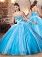 Exclusive Beaded Bust Baby Blue Sweet 16 Dress in Tulle