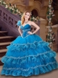 Classical Applique and Ruffled Blue Quinceanera Dress with One Shoulder
