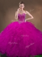 Custom Made Beaded and Ruffled Quinceanera Gowns in Hot Pink