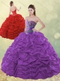 Exclusive Beaded and Bubble Purple Quinceanera Dress in Taffeta