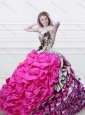 Luxurious V Neck Fuchsia and Printed Quinceanera Dress with Feather and Bubbles