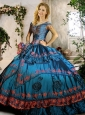 Off the Shoulder Teal Quinceanera Gown with Beading and Appliques