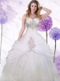 Popular Tulle White Princess Quinceanera Dress with Beading and Ruching