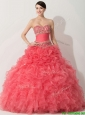 Princess Coral Red Sweet 16 Dress with Beading and Ruffles