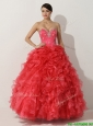 Promotional Princess Red Quinceanera Gown with Beading and Ruffles