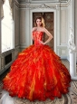 Strapless Red and Gold Sweet 16 Dress with Appliques and Ruffles