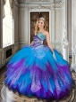 Baby Blue and Purple Sweet 16 Dress with Beading and Ruffles