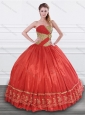 Latest Beaded and Applique Taffeta Quinceanera Dress in Red and Gold