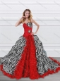 Latest Beaded and Ruffled Red and Zebra Quinceanera Dress with Brush Train