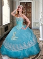 New Arrivals Ball Gown Baby Blue Sweet 16 Dress with Appliques and Beading