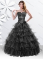 Princess Black Sweet 16 Dress with Beading and Ruffled Layers
