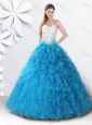 Princess Teal Sweet 16 Dress with Beading and Ruffles