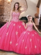 Affordable Hot Pink Princesita Quinceanera Dresses with Beading and Appliques