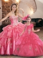 New Style Rose Pink Princesita Quinceanera Dresses with Appliques and Beading