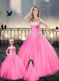 Custom Made Beaded and Applique Princesita with Quinceanera Dresses in Pink