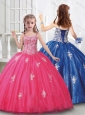 Cute Straps Tulle Mini Quinceanera Dress with Beading and Appliques