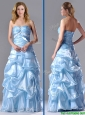Column Sweetheart Long Light Blue Beaded Ruched Prom Dress in Organza