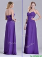 Column Sweetheart Ruching Purple Prom Dress for Celebrity