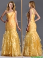Elegant Mermaid One Shoulder Organza Ruffled Prom Dress in Gold