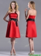 Exclusive Empire Satin Knee Length Dama Dresses for Quinceanera with Black Bowknot