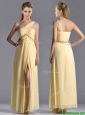 Exquisite One Shoulder Yellow Prom Dress with Beading and High Slit