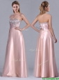 Fashionable Strapless Peach Long Prom Dress with Beaded Bodice