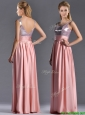 Lovely Empire Straps Zipper Up Peach Prom Dress with Sequins