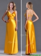 Luxurious Beaded Decorated Straps Criss Cross Prom Dress in Gold