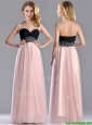 Modern Empire Beaded and Ruched Prom Dress in Baby Pink and Black