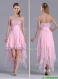 New Arrivals Beaded Bust High Low Chiffon Prom Dress in Baby Pink
