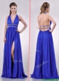 New Halter Top Blue Backless Prom Dress with Beading and High Slit