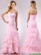Popular Brush Train Organza Pink Prom Dress with Beading and Ruffles