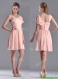 Simple Empire Ruched Peach Dama Dresses for Quinceanera with Asymmetrical Neckline