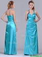 2016 Column Halter Top Elastic Woven Satin Aqua Blue Prom Dress with Ruching