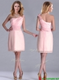 2016 Exquisite One Shoulder Side Zipper Dama Dress in Baby Pink,Silhouette: Empire