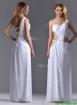 Beautiful Cut Out Waist One Shoulder White Prom Dress with Beading