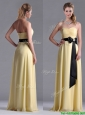 Beautiful Sweetheart Yellow Dama Dresses for Quinceanera with Ruching and Black Bowknot