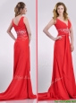 Beautiful V Neck Brush Train Chiffon Beaded Prom Dress in Coral Red