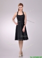 Best Selling Chiffon Halter Top Ruched Bridesmaid Dress in Black