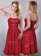 Cheap Spaghetti Straps Knee Length Chiffon Dama Dresses for Quinceanera in Red