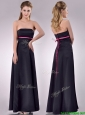 Classical Black Ankle Length Dama Dresses for Quinceanera with Hot Pink Belt