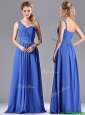 Column Chiffon Beading and Ruching Blue Prom Dress with One Shoulder